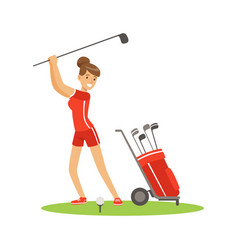 Smiling woman golfer in red uniform with golf vector