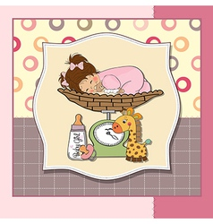 Baby girl on on weighing scale vector