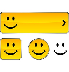 Smiley button set vector