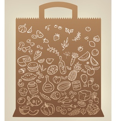 Food icons on paper bag vector