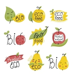 Organic labels and elements vector