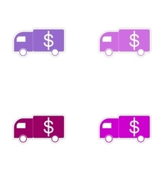 Stylish assembly sticker on paper car and money vector