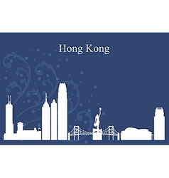 Hong kong city skyline on blue backgrou vector