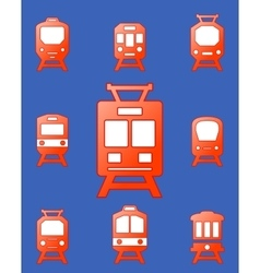 Set trains on blue background vector