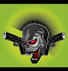 Cyber punk skull glock pistol vector