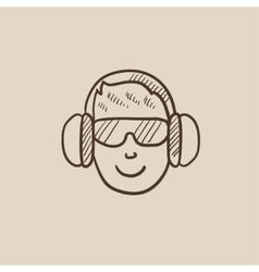 Man in headphones sketch icon vector