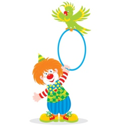 Circus clown and parrot vector image