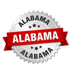 Alabama round silver badge with red ribbon vector