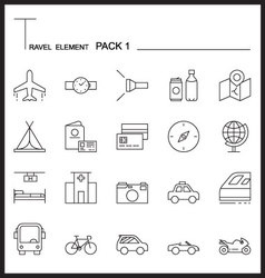 Travel element line icon setpack 1mono pack vector