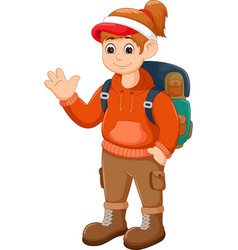 beauty backpacker cartoon standing with waving vector image