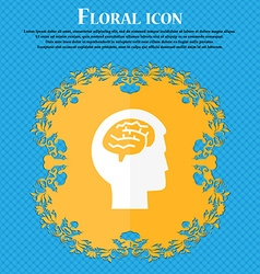Brain icon Floral flat design on a blue abstract vector image