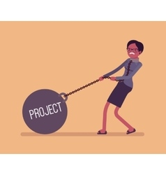 Businesswoman dragging a weight project on chain vector