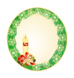 Button circle christmas spruce with candle vector