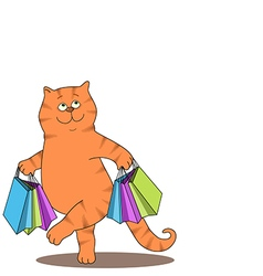 Cat and bags vector