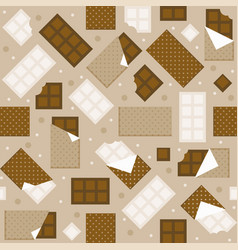 chocolate and white chocolate bar seamless pattern vector image vector image