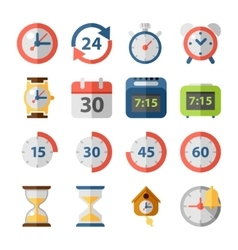 Clock and time flat icon set vector image vector image