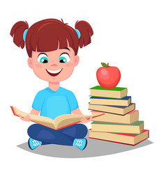 Cute girl reading book and sitting near a stack vector
