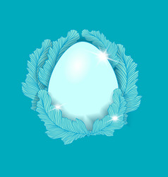 easter egg element on the blue background vector image