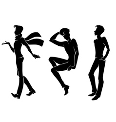 fashionable men silhouettes vector image