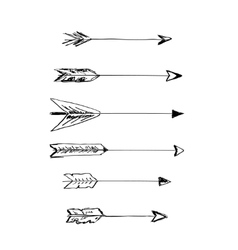Hand-drawn arrows with feathers vector image vector image