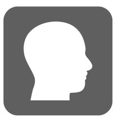 Head Profile Flat Squared Icon vector image