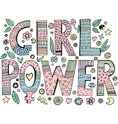 psychedelic hippie girl power lettering vector image