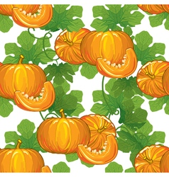 Seamless pattern of ripe pumpkins with leaves vector