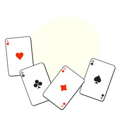Set of hearts spades clubs and diamonds ace vector