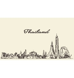 Skyline of Thailand hand drawn sketch vector image vector image