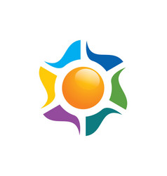 Solar sun color energy colorful logo vector