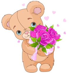 Teddy bear giving bouquet vector image