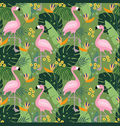 tropical jungle seamless pattern with flamingo vector image