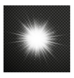 White glowing light burst with transparent vector image