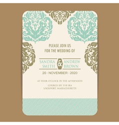 Wintage wedding card vector