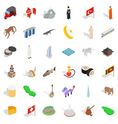 World landmark icons set isometric style vector