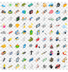 100 progress icons set isometric 3d style vector
