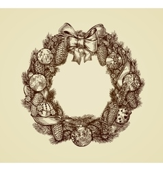 Decorative christmas wreath sketch xmas and new vector