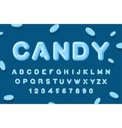 Candy font abc of caramel sweet alphabet blue vector