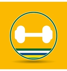 Barbell weight sport badge icon vector