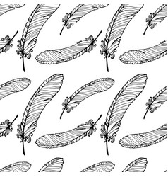 Hand drawn seamless plumage pattern vector
