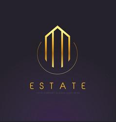 Real estate gold logo design vector