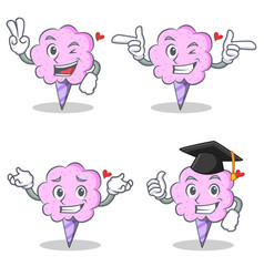 Cotton candy character set with two finger wink vector