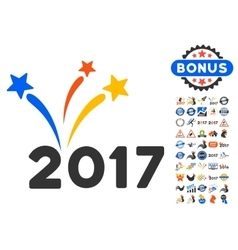 2017 Fireworks Icon With 2017 Year Bonus vector image