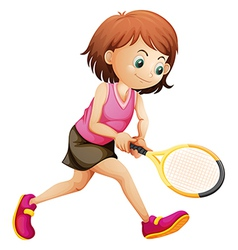 A cute little girl playing tennis vector image