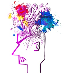 Profile of man full of angry thoughts vector