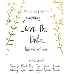 Rustic Save the Date Invitation Card Template with vector image