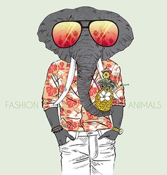 Fashion animal elephant dressed up in aloha shirt vector