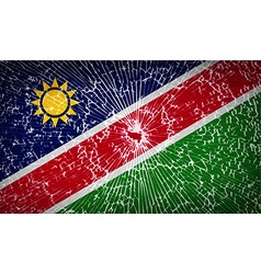 Flags namibia with broken glass texture vector