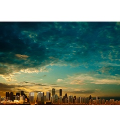 Abstract clouds background with panorama of city vector