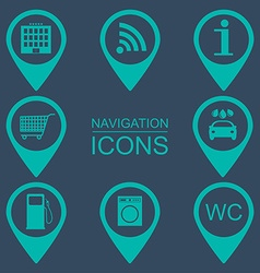 Navigation icons silhouette icons service vector